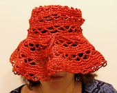 Vintage Boho Hat, Red Woven Straw, Floppy