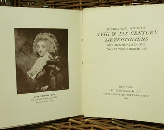 Antique Book, Brochure or Booklet, Mezzotinters of the 18th and 19th Century, Brochure of Biographical Notes 1905, Vintage Printing Book