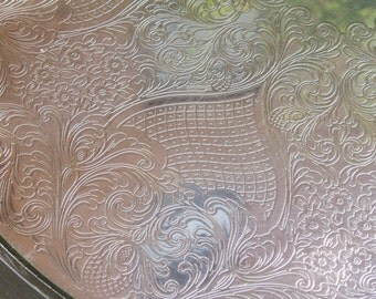 Vintage Silverplate Tray, Etched Floral -- PM Italy