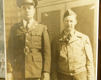 Vintage Military Photograph 8 x 10 -- Two Soldiers, WW II