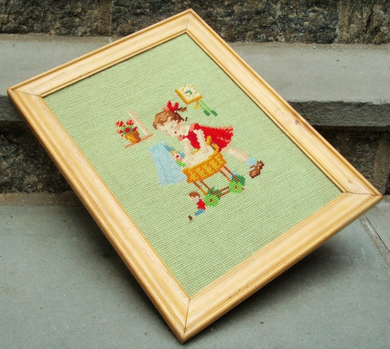 Vintage Needlepoint Wall Hanging of Little Girl, Framed, 1930s 1940s