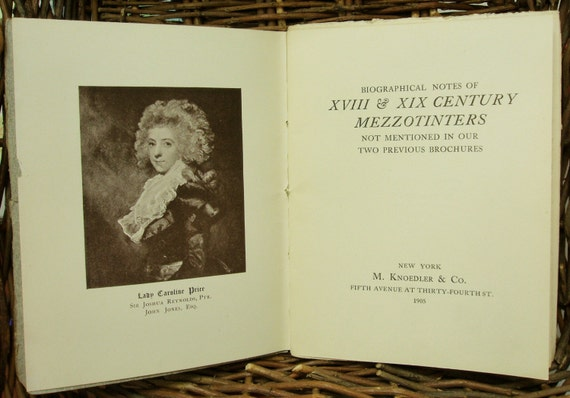 Antique Book, Brochure, Booklet -- Mezzotinters of the 18th and 19th Century -- Brochure of Biographical Notes -- 1905