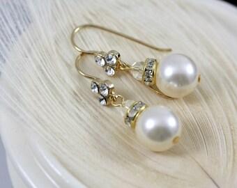 Small Gold Bridal Earrings Pearl Wedding Earrings Crystal Ear Hook Simple Pearl Earrings Bridesmaid Bridal Earrings Wedding Jewelry