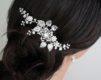 Bridal Hair Comb Wedding Hair Piece Wedding Hair Accessories Swarovski Crystal Flower Vine HeadPiece Pearl Rhinestone Side Comb, HARLOW VINE