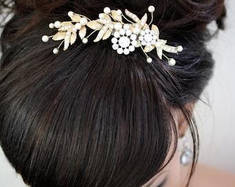Wedding Hair Comb Swarovski Pearl Hair Comb Bridal Hair Piece Gold Wedding Hair Accessory  MIER