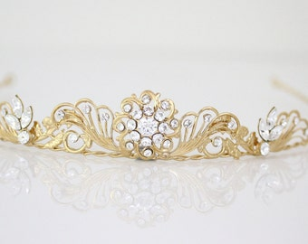 Gold Wedding Tiara Bridal Crown Small Gold Tiara Rhinestone Tiara Wedding Hair Accessories, ASTER