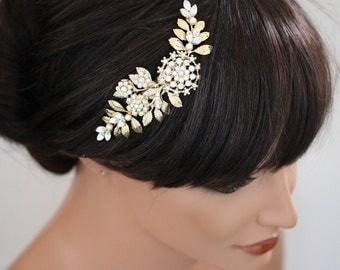 Gold Wedding Hair Piece Bridal Hair Comb Vintage Leaves Wedding Hair Accessories Swarovski Rhinestone White Ivory Pearl IVY