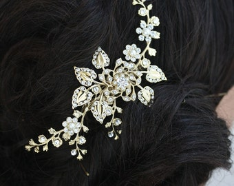 Gold Bridal Hair Comb Wedding Hair Accessories flowers and Leaves Gold Hair Vine Gold Hair Comb Wedding Hair Piece HARLOW VINE