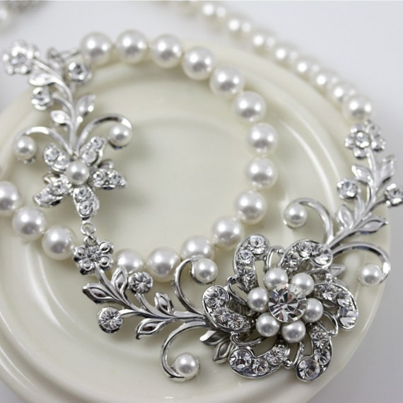 White Pearl Bridal Necklace Vintage Wedding Jewelry Swarovski Crystal Flower Wedding Necklace  SABINE GARDEN