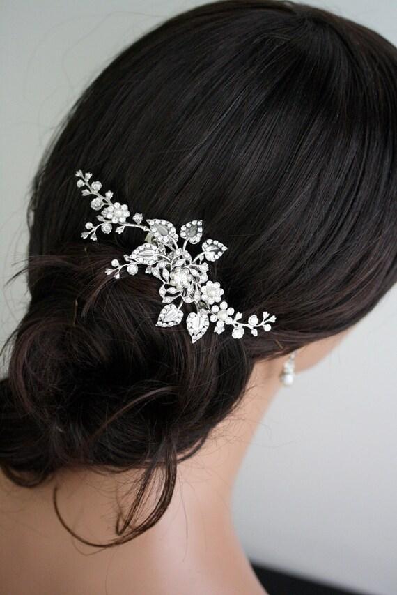 Bridal Hair Comb Wedding Hair Piece Wedding Hair Accessories Swarovski Crystal Flower Vine HeadPiece Pearl Rhinestone Side Comb, HARLOW VINE