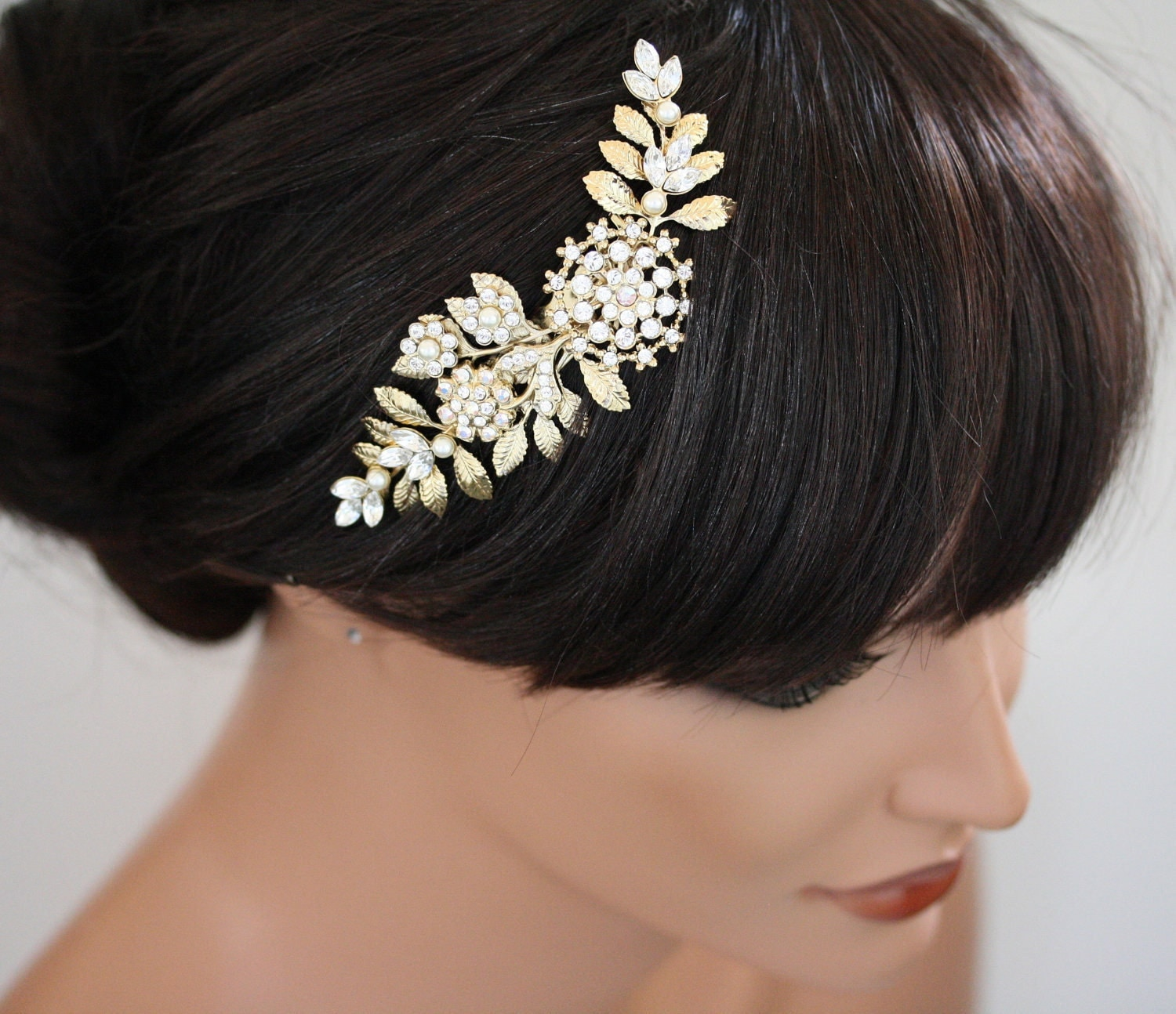 gold wedding hair piece bridal hair comb vintage leaves