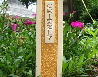 Pet Grave Marker Memorial Headstone Tombstone / custom handcrafted ceramic burial marker for all pets / gold and cream colored
