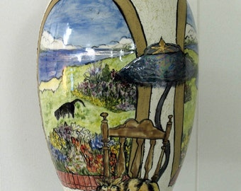 Large Ceramic Pottery Vase Etched Scenic Indoor/ Outdoor Original Motif on Etsy
