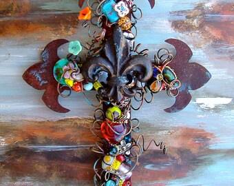 Decorative Wall Cross - Fleur-de-lis Cross - Rusty Cross - Rustic Wall Cross