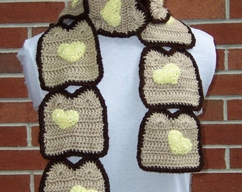 CROCHET Toast with Butter Hearts Scarf PATTERN