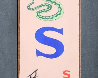 """Vintage Letter """"S""""  Flashcard Wall Plaque in Blue with Snake"""
