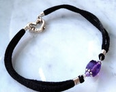 Still February Amethyst Bracelet, Faceted Cube Amethyst, silver, black suede, sterling vintage heart