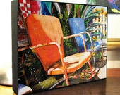 """Vintage Metal Lawn Chairs Courtyard Folk Art """"Relax"""" 8x10x1.5"""" and 11x14x1.5"""" Gallery Wrap Canvas Print"""