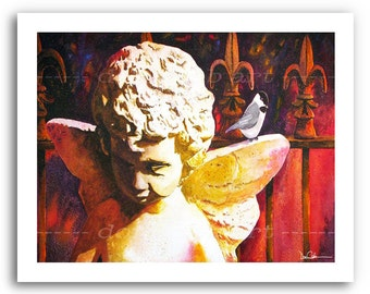 "Fleur de Lis New Orleans Angel Art ""Chickadee Angel"" 11x14"" and 13x19"" Print Signed Numbered"