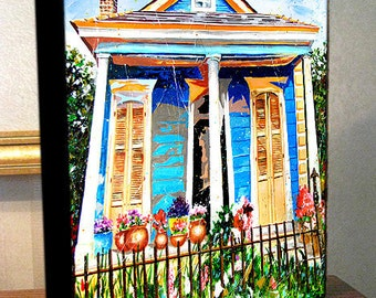 "New Orleans Garden District French Quarter House Art Canvas Print On 8x10x1.5"" Gallery Wrap"