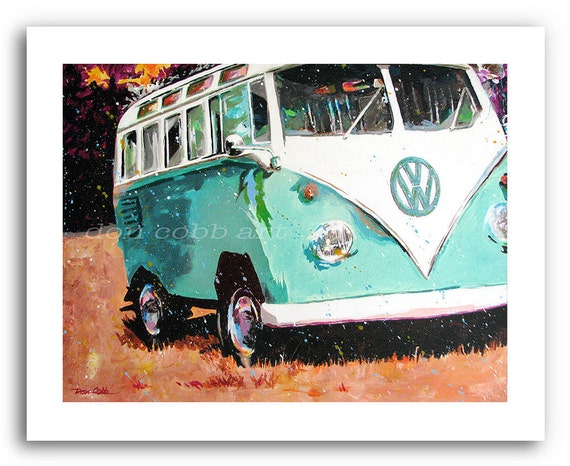 """VW Volkswagen Bus Acrylic Painting Art Print 11x14"""" and 13x19"""" """"Turquoise Weekend"""" Signed and Numbered"""
