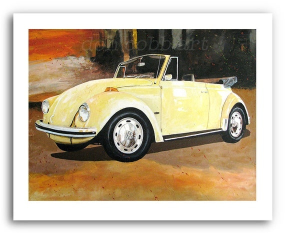 Volkswagen Slug Bug Beetle Convertible Art Print Signed And
