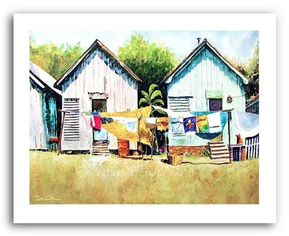 Shreveport Clothesline Laundry Shotgun Houses Art Prints
