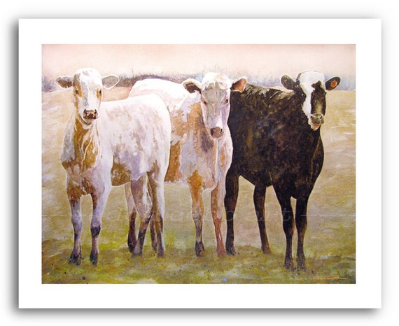 Cow Calf Art Trio 76 Print Signed And Numbered