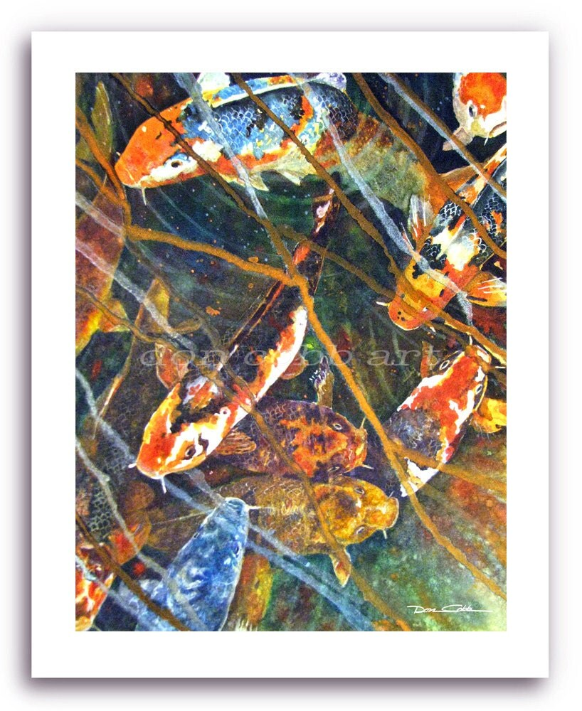 Koi fish art koi fish blues prints signed and for Koi fish art print
