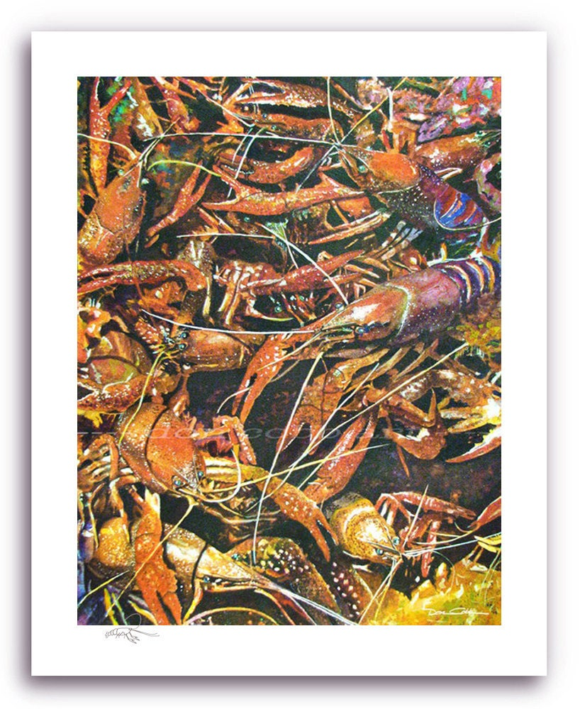 Louisiana Angry Crawfish Art Prints Signed And