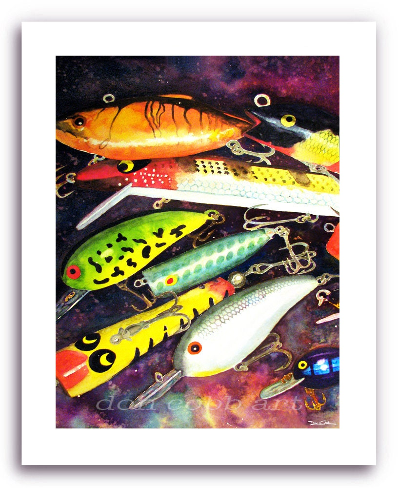 Lake house decor fishing lure art allure prints for Fishing lure decor