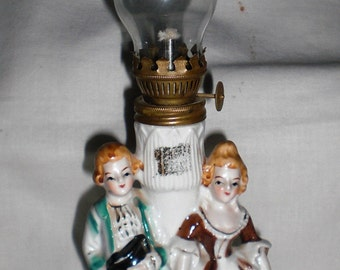 Regency Couple Porcelain Hurricane Oil Lamp