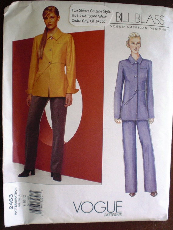 Bill Blass Pant and Jacket Pattern by Vogue