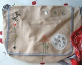 "MESSENGER BAG EMBROIDERED Laptop Book Student Art  ""Spider to the Fly"""