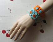 "CUFF BRACELET BLUE Cotton Crochet ""Blueberry Fields"""