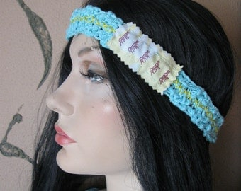BLUE CROCHET HEADBAND