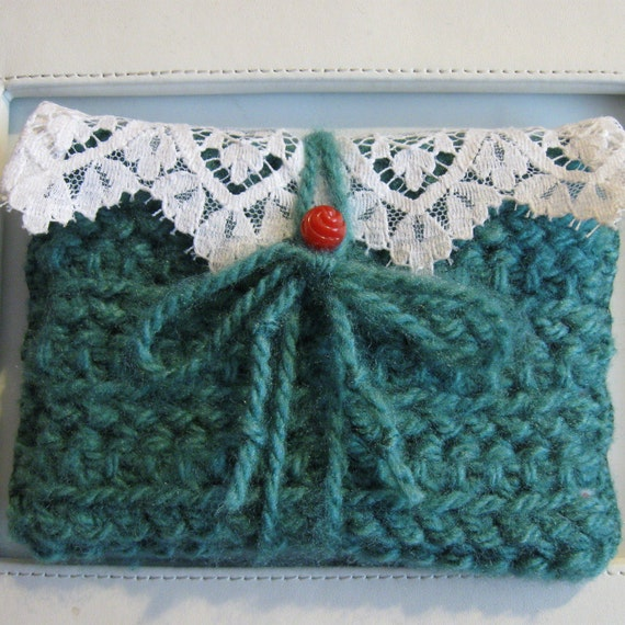 "TEAL WALLET CROCHET Card Holder Makeup Bag ""Swiss Miss"""
