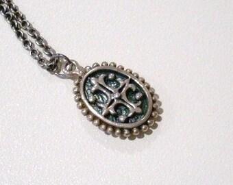 Vintage Sterling Silver Medallion Necklace