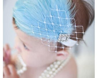 Baby Headbands, Baby Girls Headbands, Newborn, Feather Headband, Easter, Infant, Christening, Flapper, Blue headbands,Baby Blue, Fascinator
