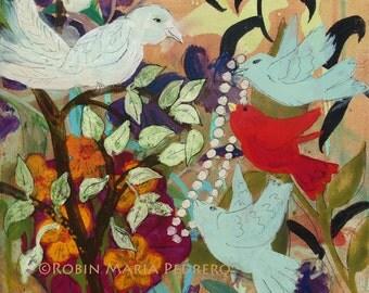 Bringing  Momma  Beads birds and beads fine art print