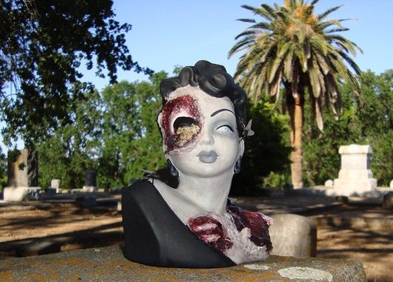 Zombie Head Vase or Bust . Custom Made Beauty and Brains...
