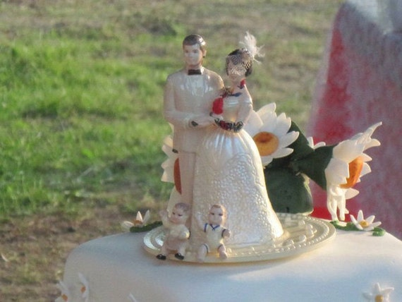 Custom Tattooed Family Wedding Cake Topper with Kids or Pets . Painted and Personalized to Resemble You