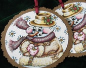 So Cute Jumbo Gift Tags Snowman Buttoning Up His Overcoat Set Of Three