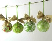 Awesome Collage Decoupage Christmas Ball Ornaments In Shades of Green Set of Four