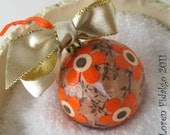 Very Pretty Decoupaged Collage Christmas Ball Ornament in Peach Orange and Brown