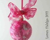 Very Vibrant Decoupage Collage Christmas Ball Ornament in Pinks and Fuschia Colors