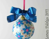 So Fun Decoupage Collage Christmas Ball Ornament in Turquoise and Multicolors