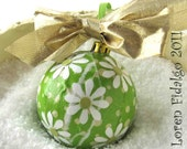 So Cool Citrus Decoupage and Collage Christmas Ball  With Flowers in Citrus Green and White