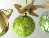 Super Bright  Collage Decoupage Christmas Ball Ornament in Shades of Lime Green and Yellow