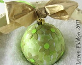 Pretty Collage Decoupage Christmas Ball Ornament in Shades of Greens